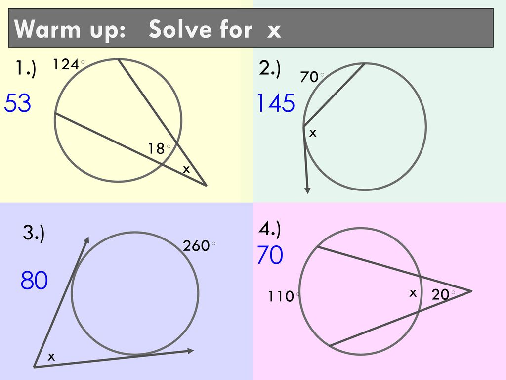 Warm up: Solve for x 1.) 2.) 4.) 3.) 124◦ 70◦ x 18◦ x 260◦ x 20 ...