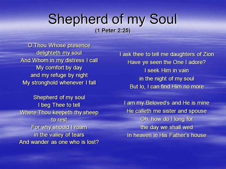 Shepherd of my Soul (1 Peter 2:25)