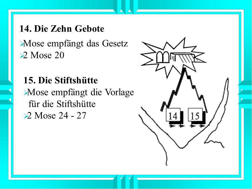 14. Die Zehn Gebote Mose empfängt das Gesetz. 2 Mose 20. 15. Die Stiftshütte. Mose empfängt die Vorlage.