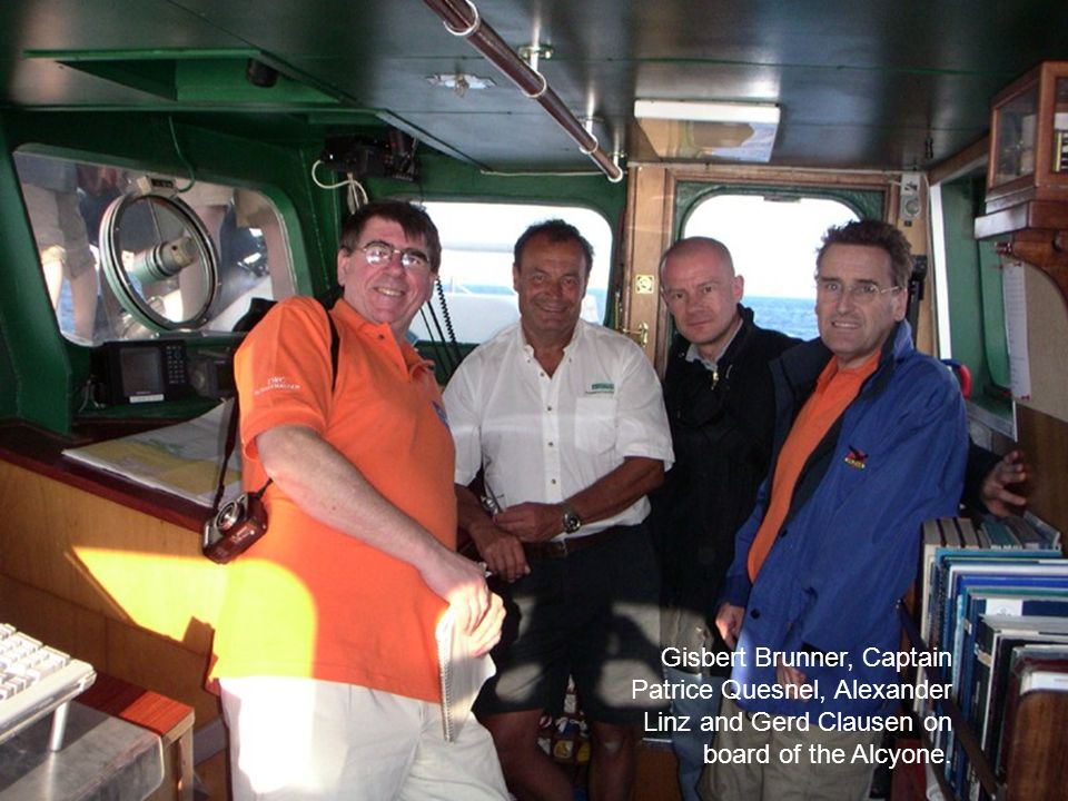 Gisbert Brunner, Captain Patrice Quesnel, Alexander Linz and Gerd Clausen on board of the Alcyone.