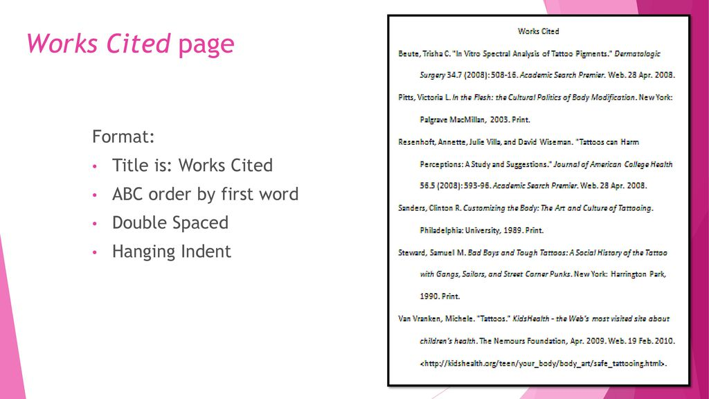 work cited page format