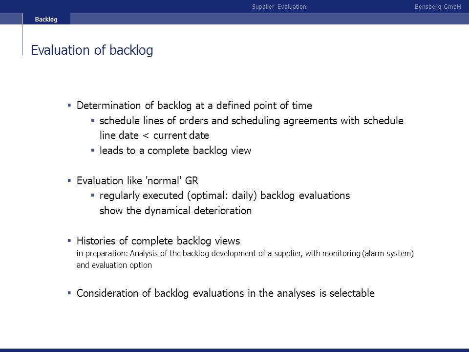 Backlog Evaluation of backlog. Determination of backlog at a defined point of time.