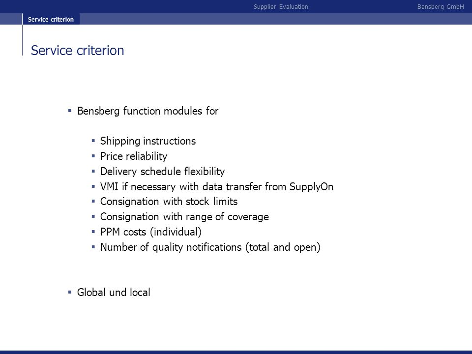 Service criterion Bensberg function modules for Shipping instructions