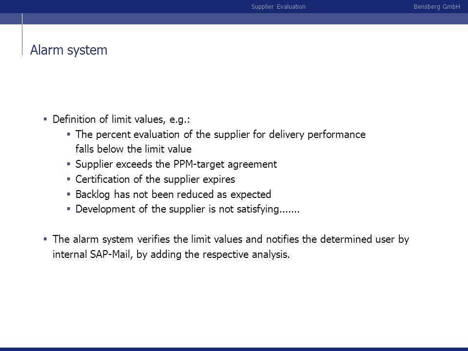 Alarm system Definition of limit values, e.g.: