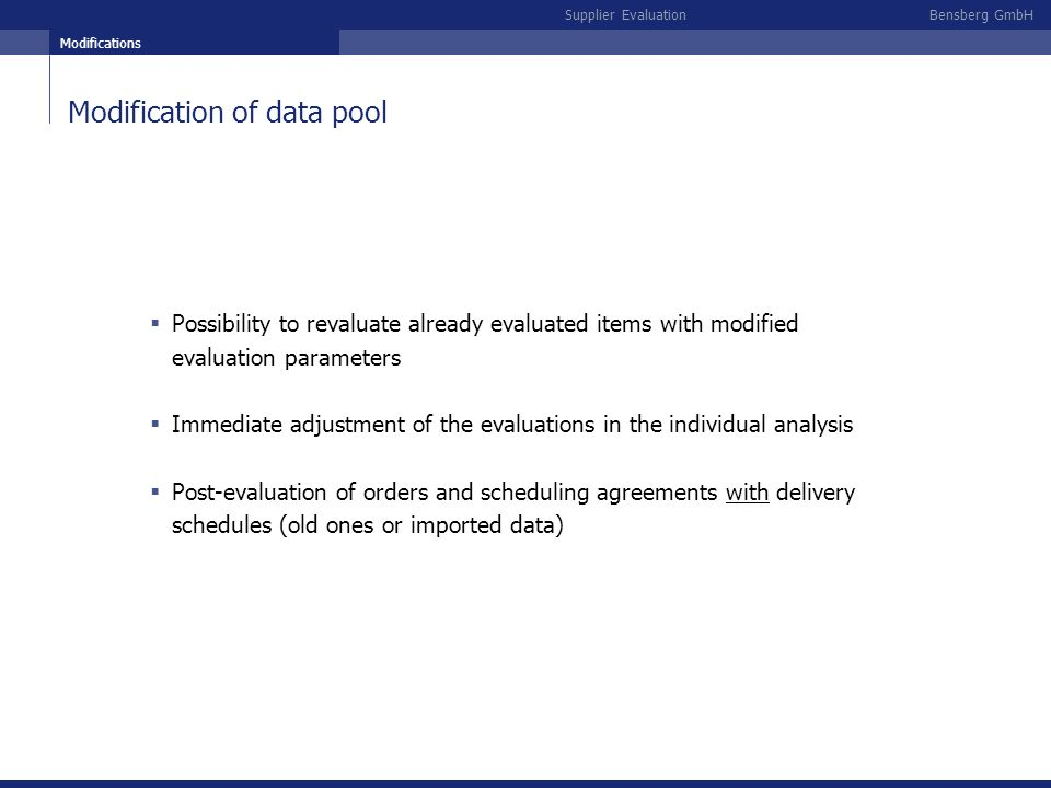 Modification of data pool