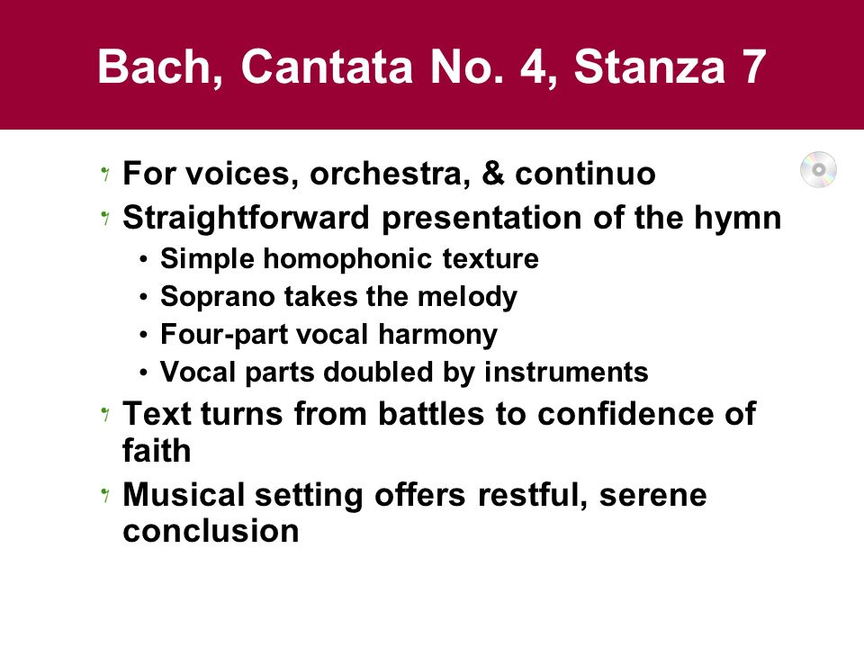 Bach, Cantata No. 4, Stanza 7 For voices, orchestra, & continuo