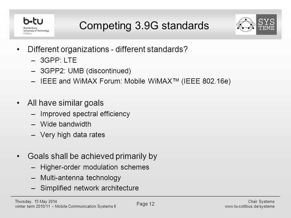 Competing 3.9G standards Different organizations - different standards 3GPP: LTE. 3GPP2: UMB (discontinued)