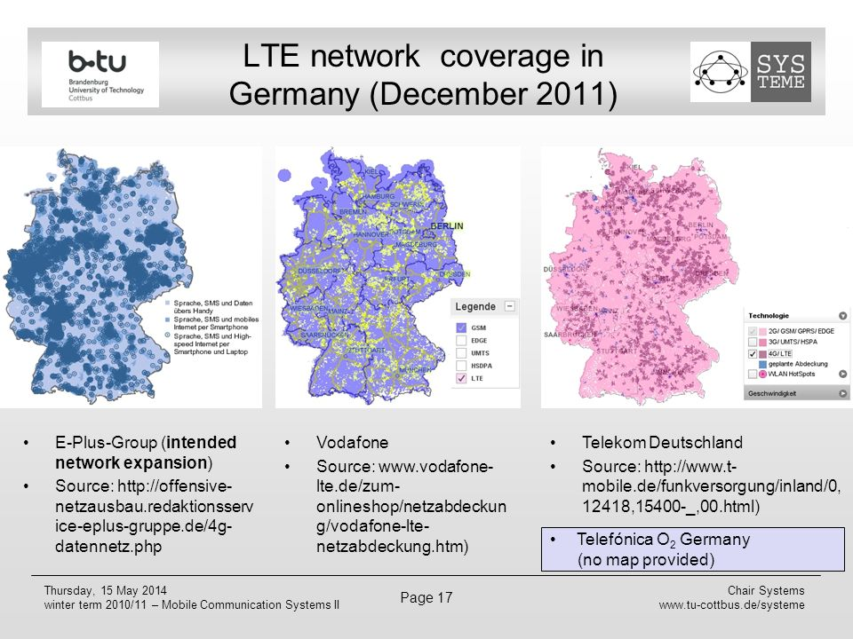 LTE network coverage in Germany (December 2011)