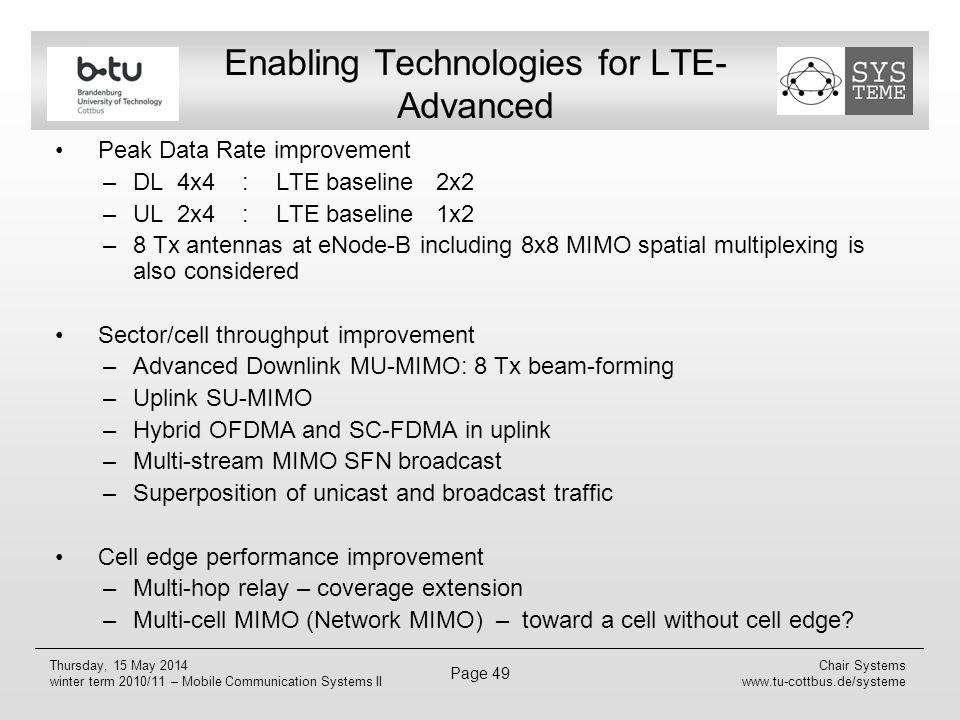 Enabling Technologies for LTE-Advanced
