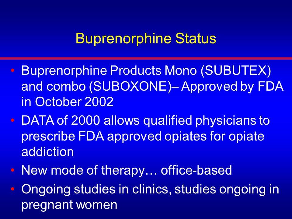 Buprenorphine Status Buprenorphine Products Mono (SUBUTEX) and combo (SUBOXONE)– Approved by FDA in October 2002.