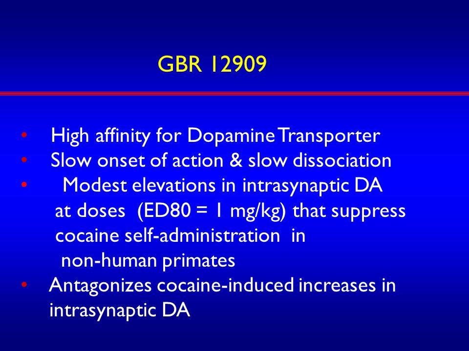 GBR 12909 High affinity for Dopamine Transporter