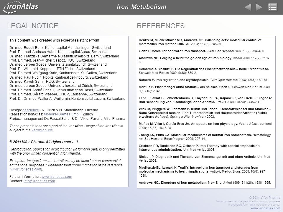LEGAL Notice References Iron Metabolism