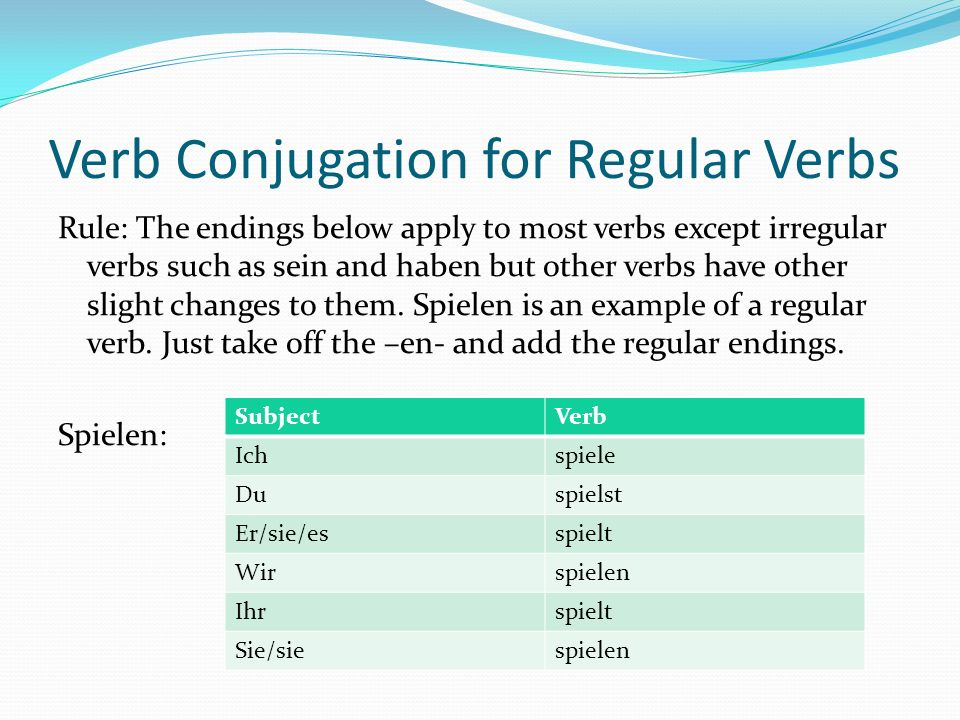Verb Conjugation for Regular Verbs