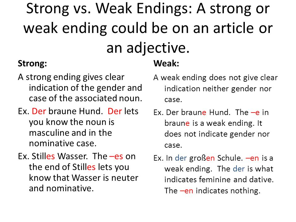 Strong vs. Weak Endings: A strong or weak ending could be on an article or an adjective.