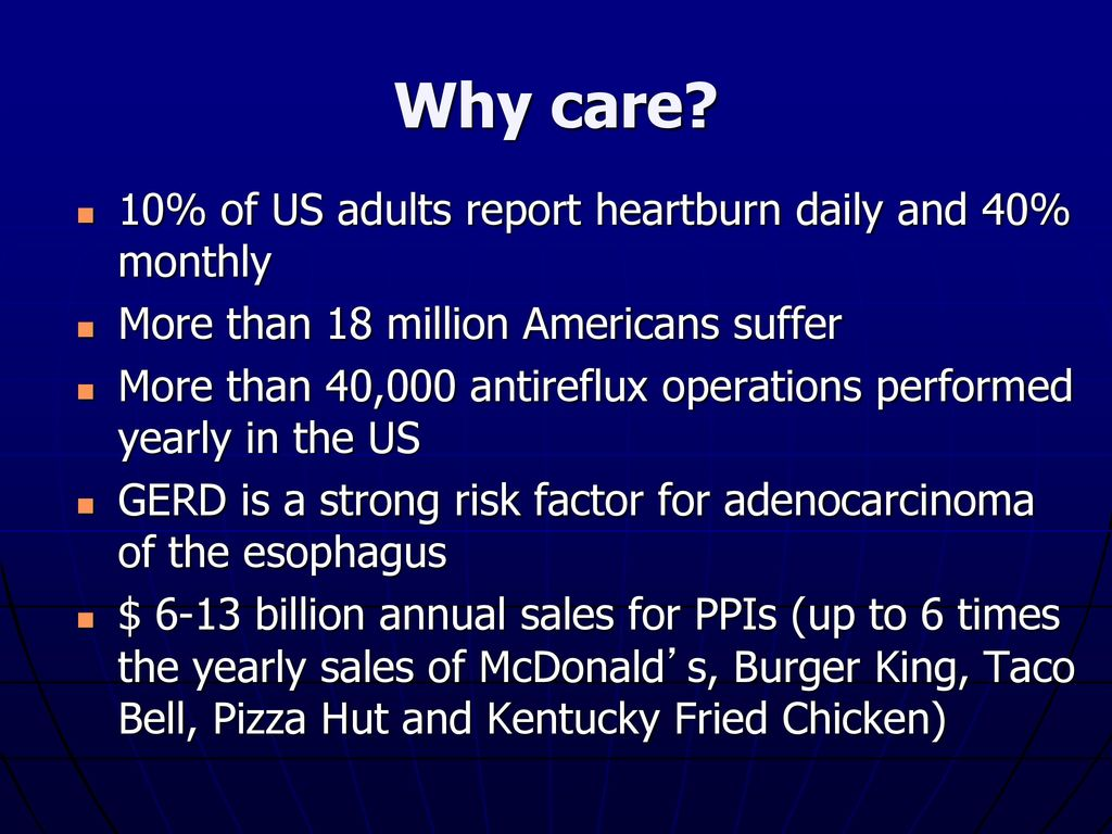 Why care 10% of US adults report heartburn daily and 40% monthly