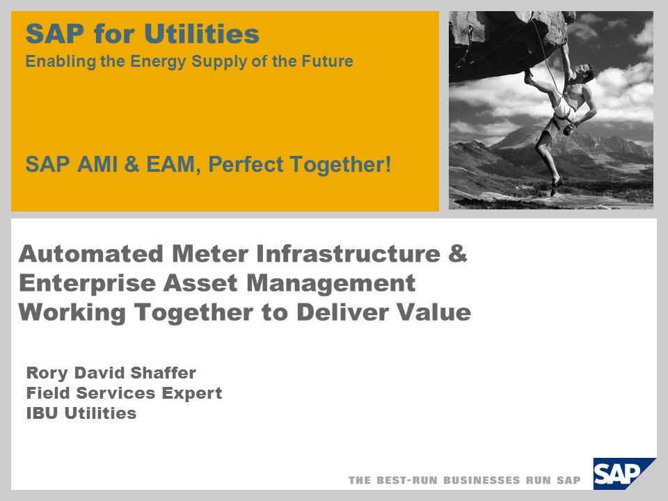 SAP for Utilities Enabling the Energy Supply of the Future SAP AMI & EAM, Perfect Together!