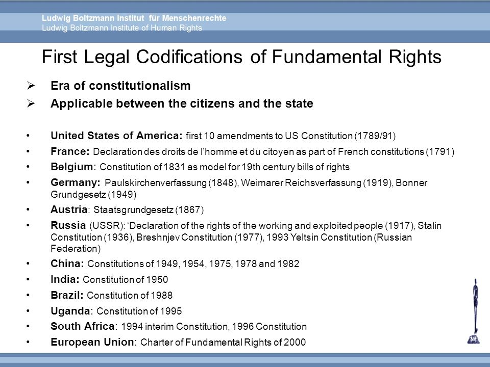 First Legal Codifications of Fundamental Rights