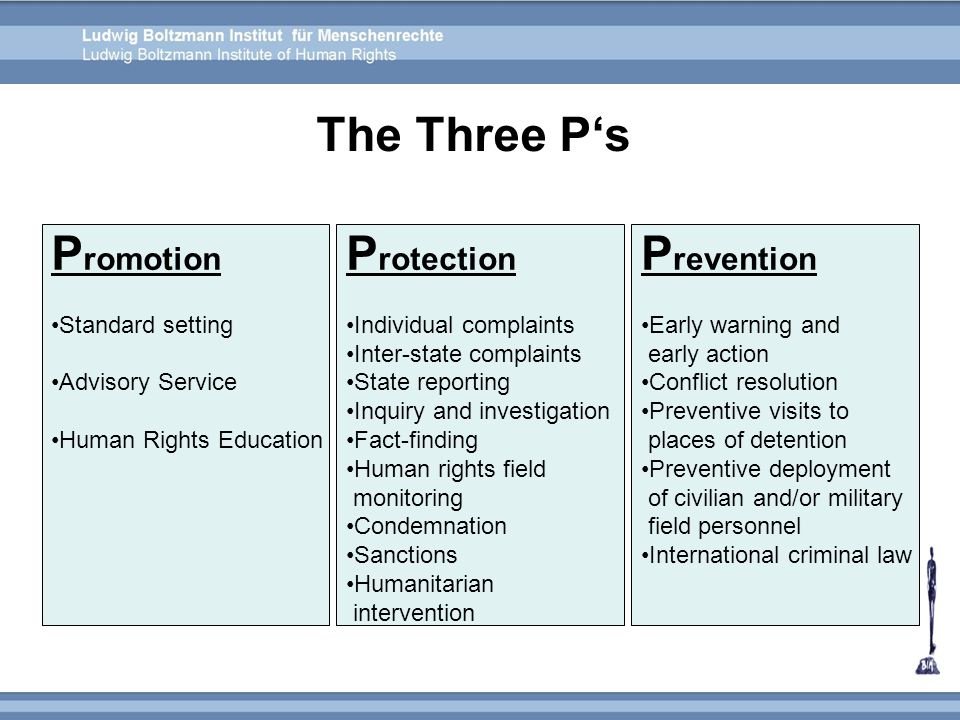The Three P's Promotion Protection Prevention Standard setting