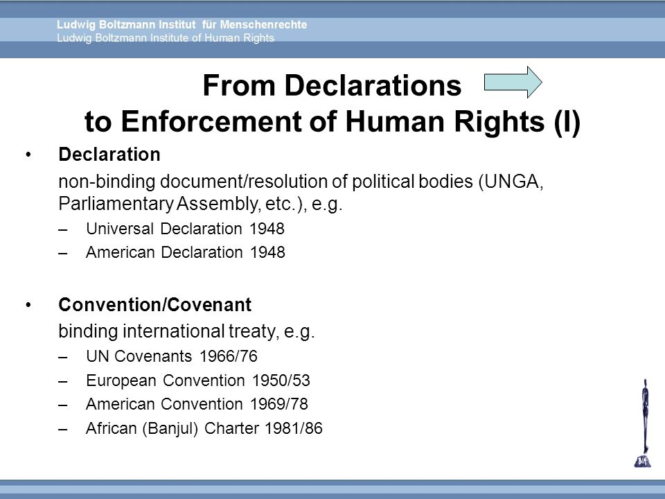 From Declarations to Enforcement of Human Rights (I)
