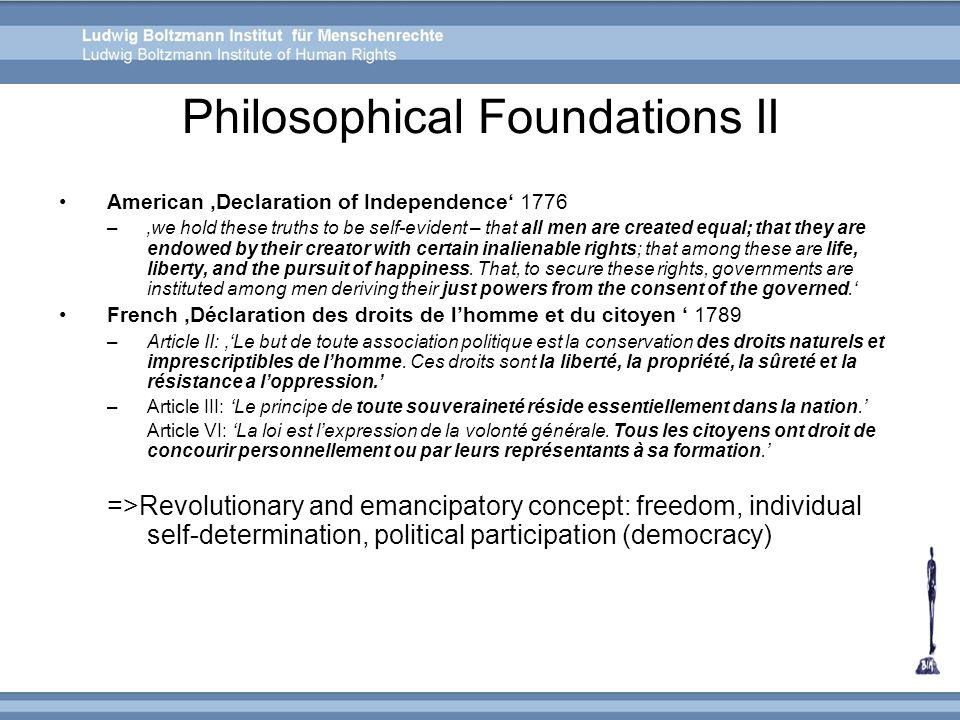 Philosophical Foundations II