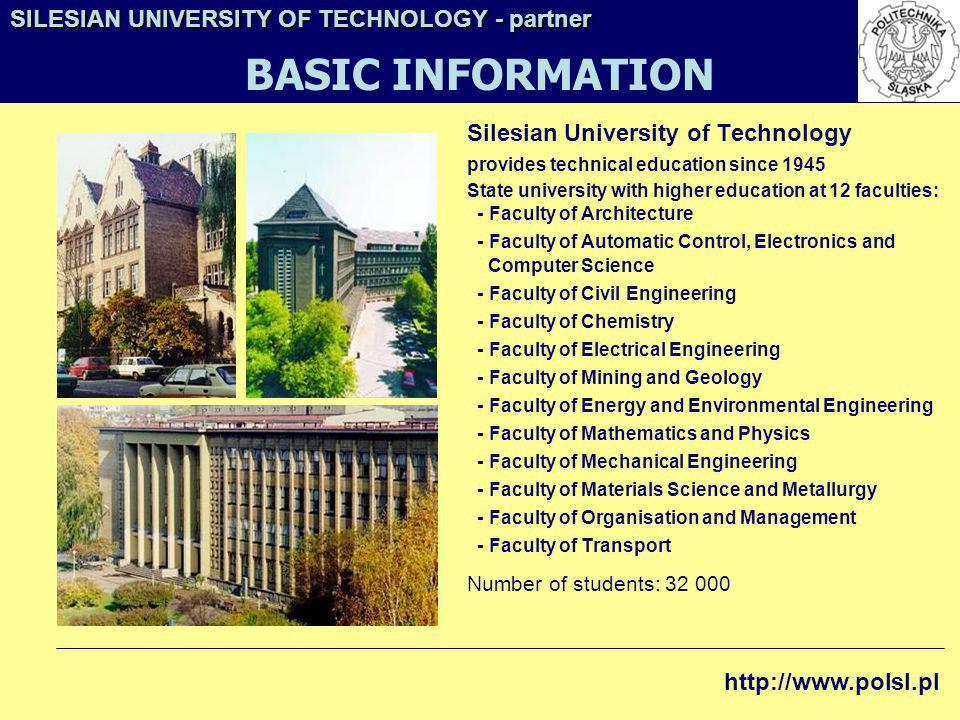 BASIC INFORMATION SILESIAN UNIVERSITY OF TECHNOLOGY - partner