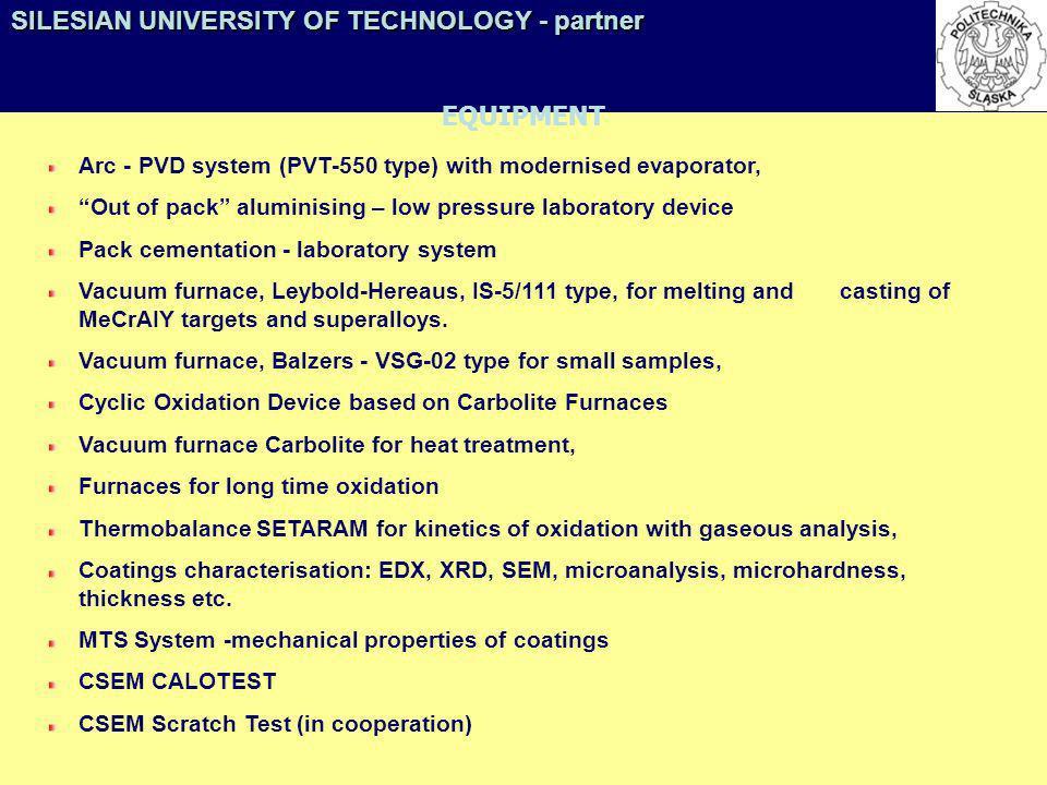 SILESIAN UNIVERSITY OF TECHNOLOGY - partner EQUIPMENT