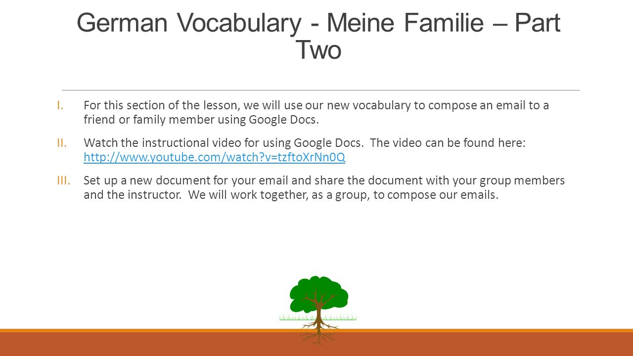 German Vocabulary - Meine Familie – Part Two