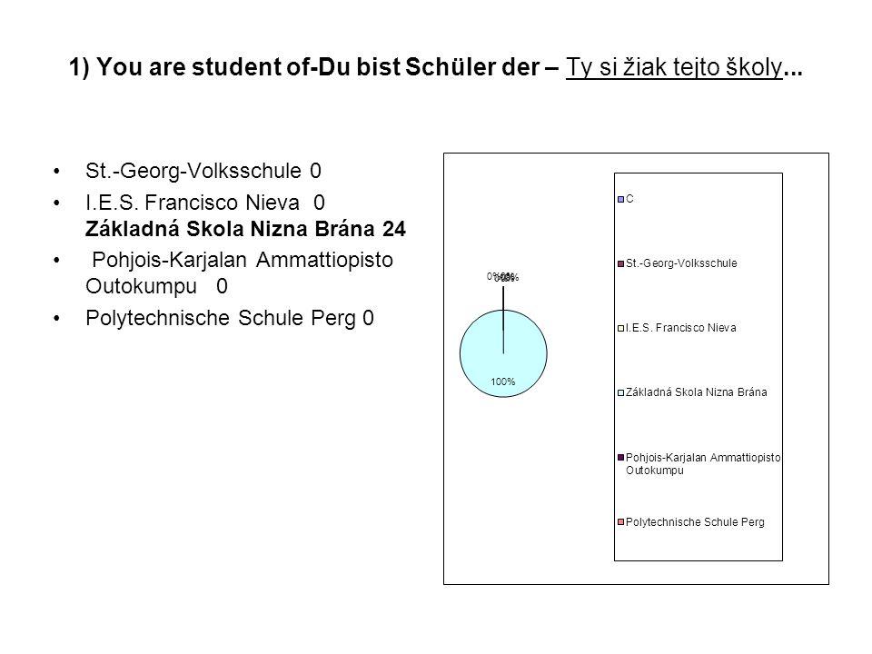 1) You are student of-Du bist Schüler der – Ty si žiak tejto školy...