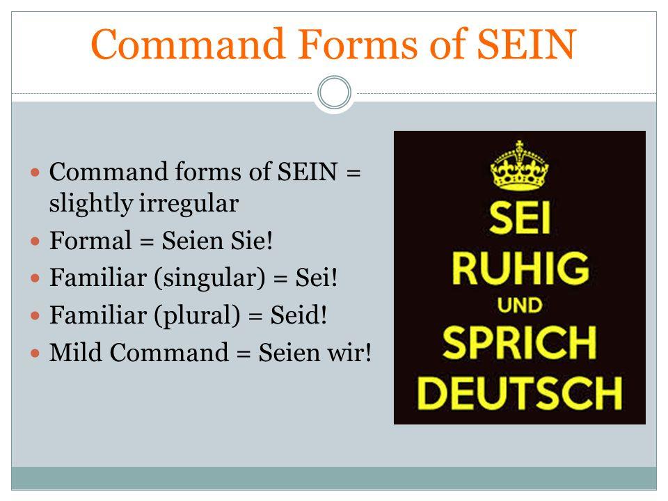 Command Forms of SEIN Command forms of SEIN = slightly irregular