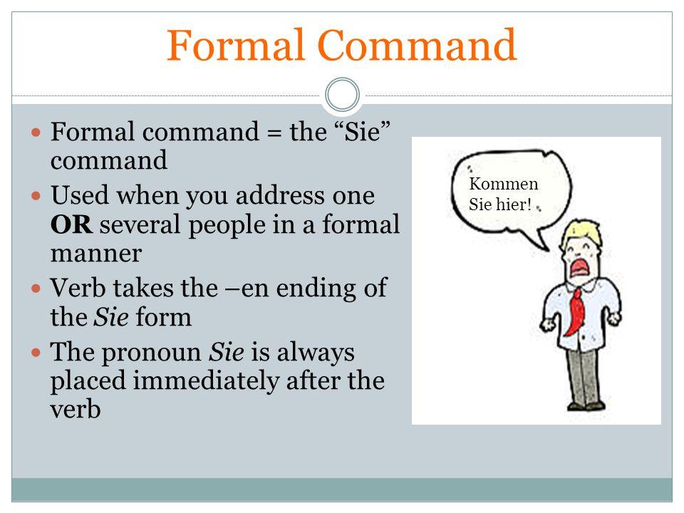 Formal Command Formal command = the Sie command