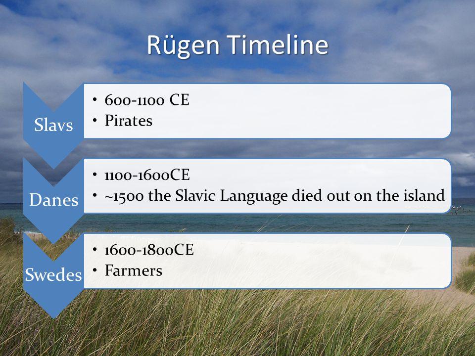 Rügen Timeline Slavs 600-1100 CE Pirates Danes 1100-1600CE