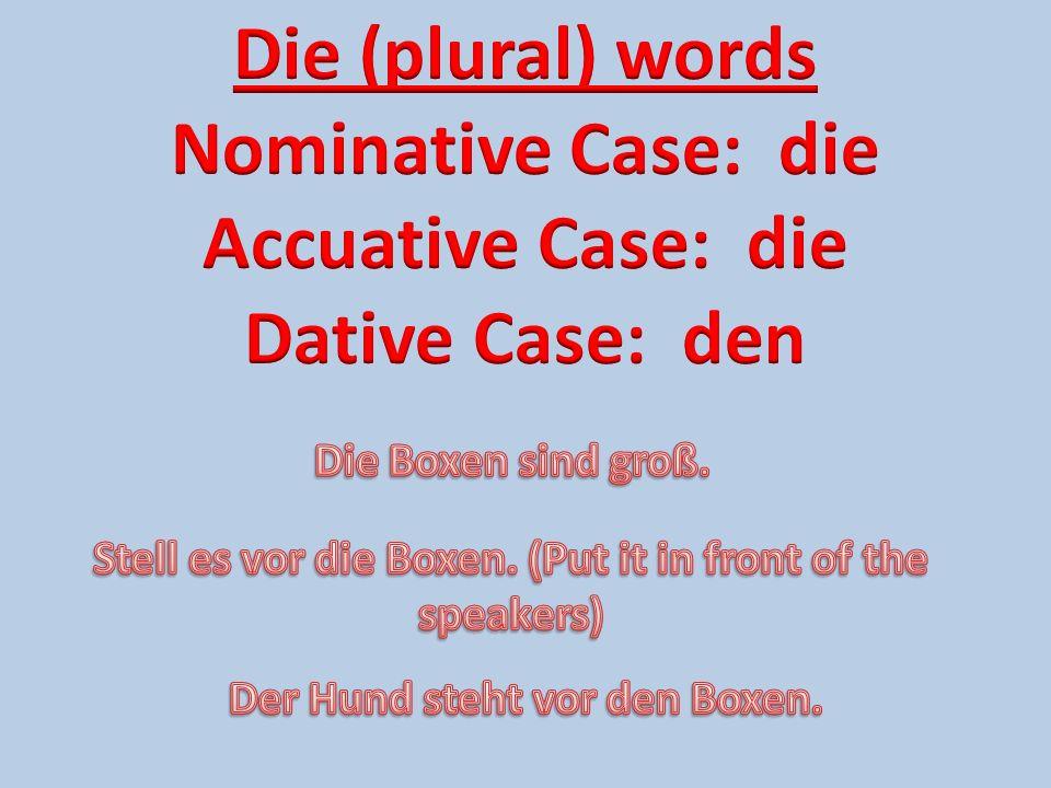 Die (plural) words Nominative Case: die Accuative Case: die