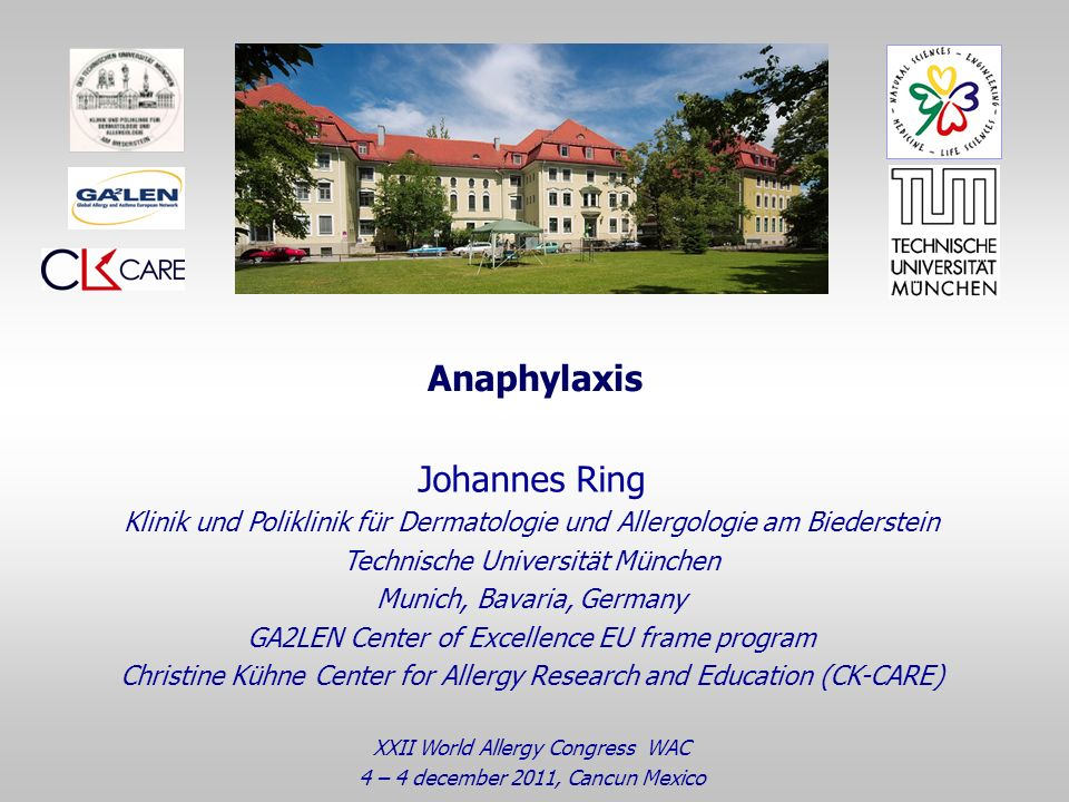 Anaphylaxis Johannes Ring