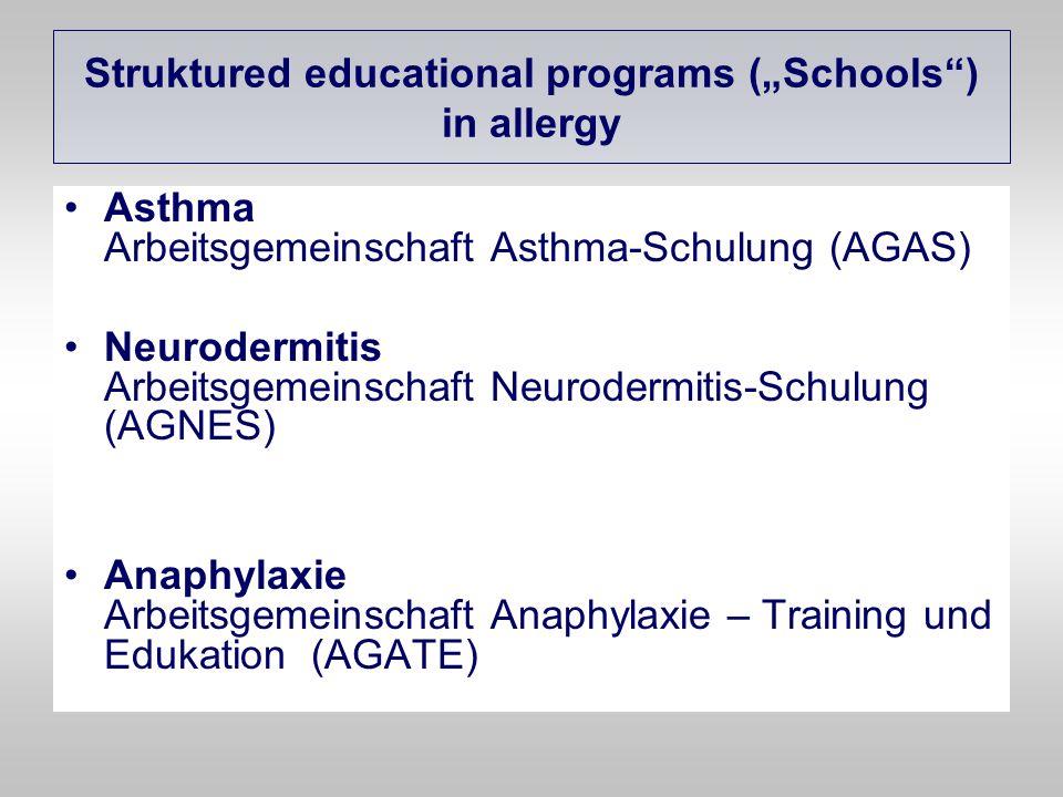 "Struktured educational programs (""Schools ) in allergy"