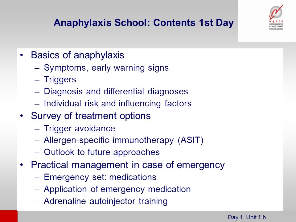Anaphylaxis School: Contents 1st Day