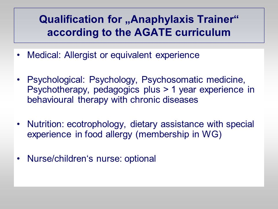 """Qualification for """"Anaphylaxis Trainer according to the AGATE curriculum"""
