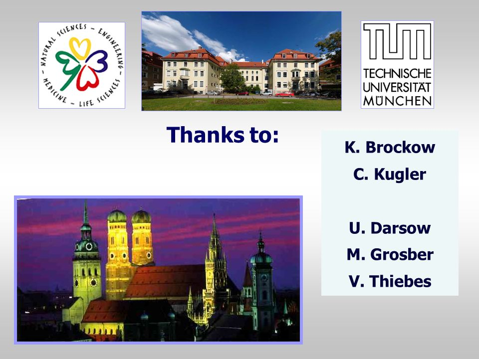 Thanks to: K. Brockow C. Kugler U. Darsow M. Grosber V. Thiebes