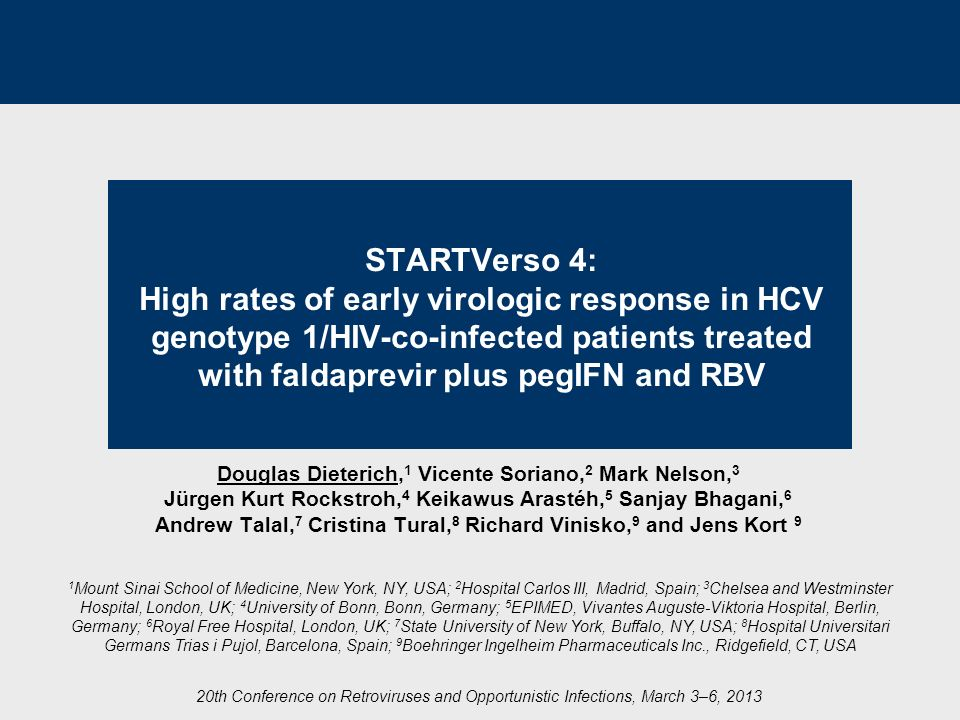 STARTVerso 4: High rates of early virologic response in HCV genotype 1/HIV-co-infected patients treated with faldaprevir plus pegIFN and RBV