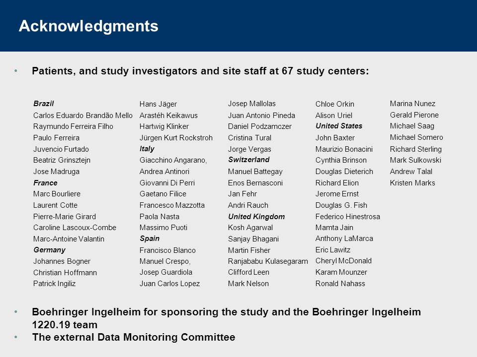 Acknowledgments Patients, and study investigators and site staff at 67 study centers: