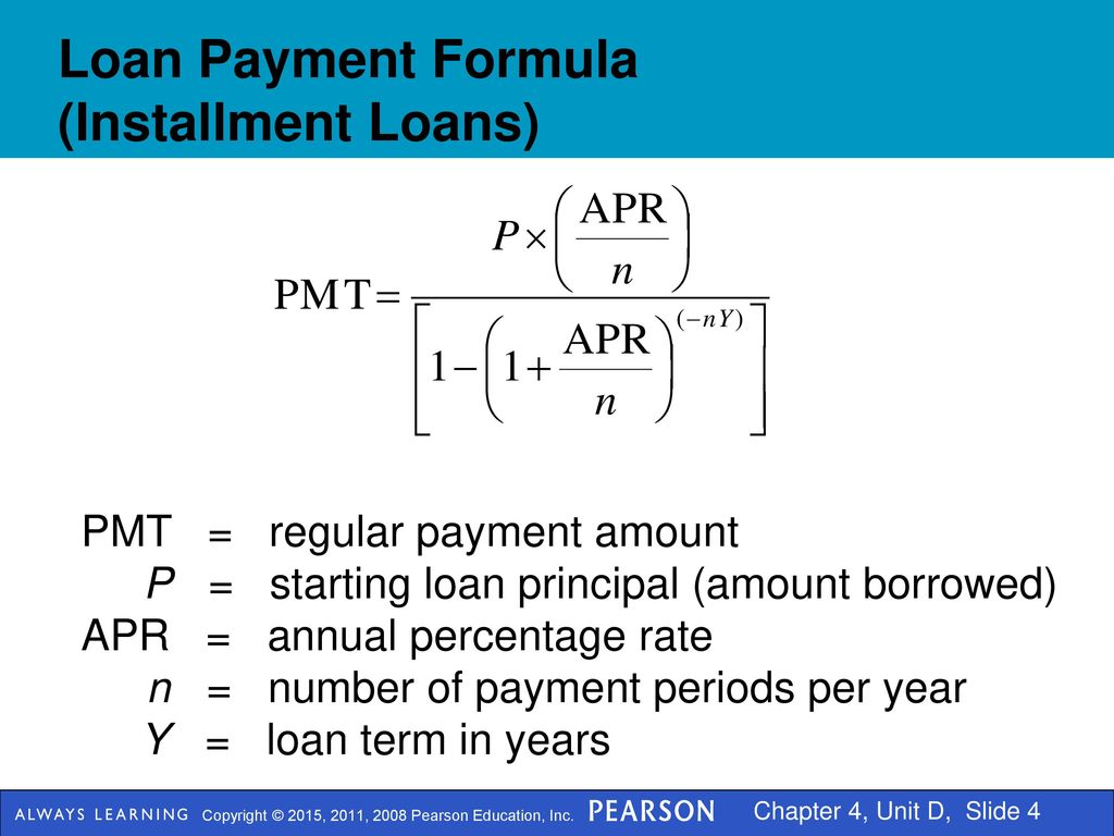 formula for loan payment