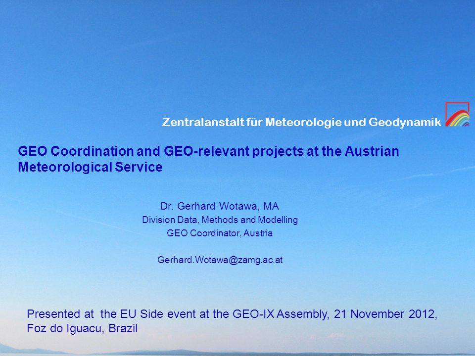 GEO Coordination and GEO-relevant projects at the Austrian Meteorological Service