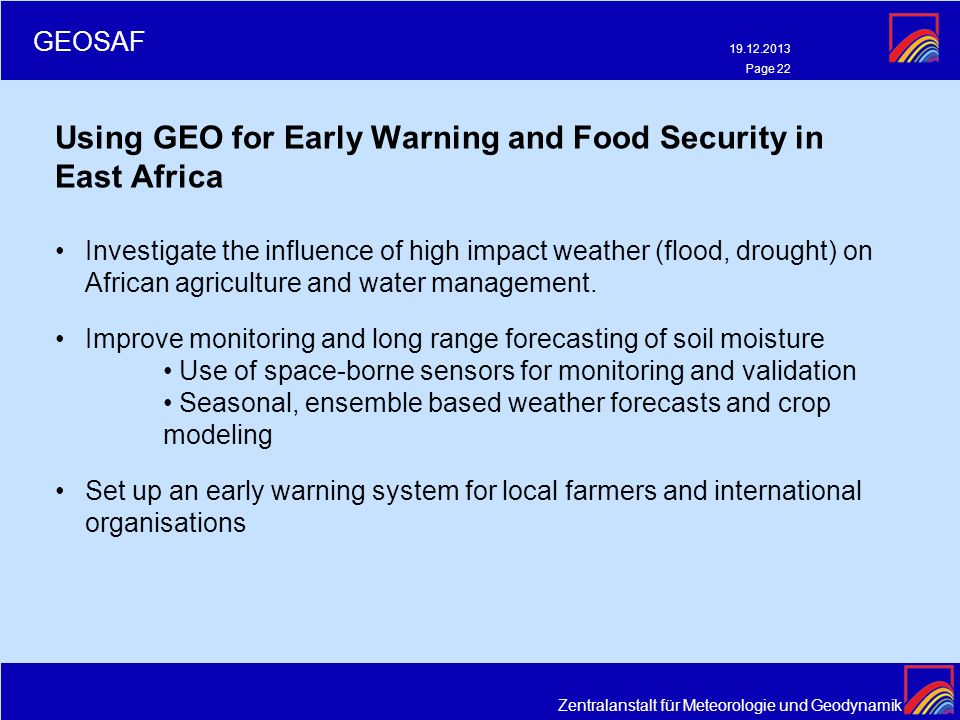 Using GEO for Early Warning and Food Security in East Africa