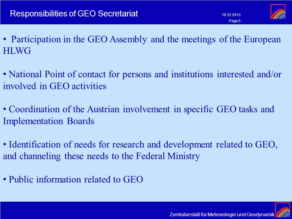 Responsibilities of GEO Secretariat
