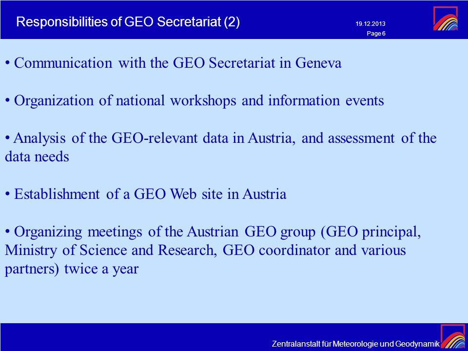 Responsibilities of GEO Secretariat (2)