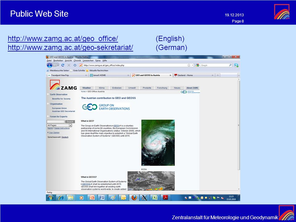 Public Web Site http://www.zamg.ac.at/geo_office/ (English)