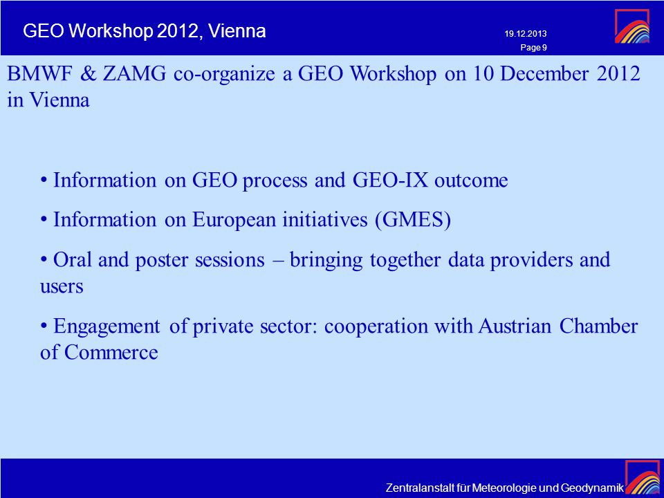 BMWF & ZAMG co-organize a GEO Workshop on 10 December 2012 in Vienna