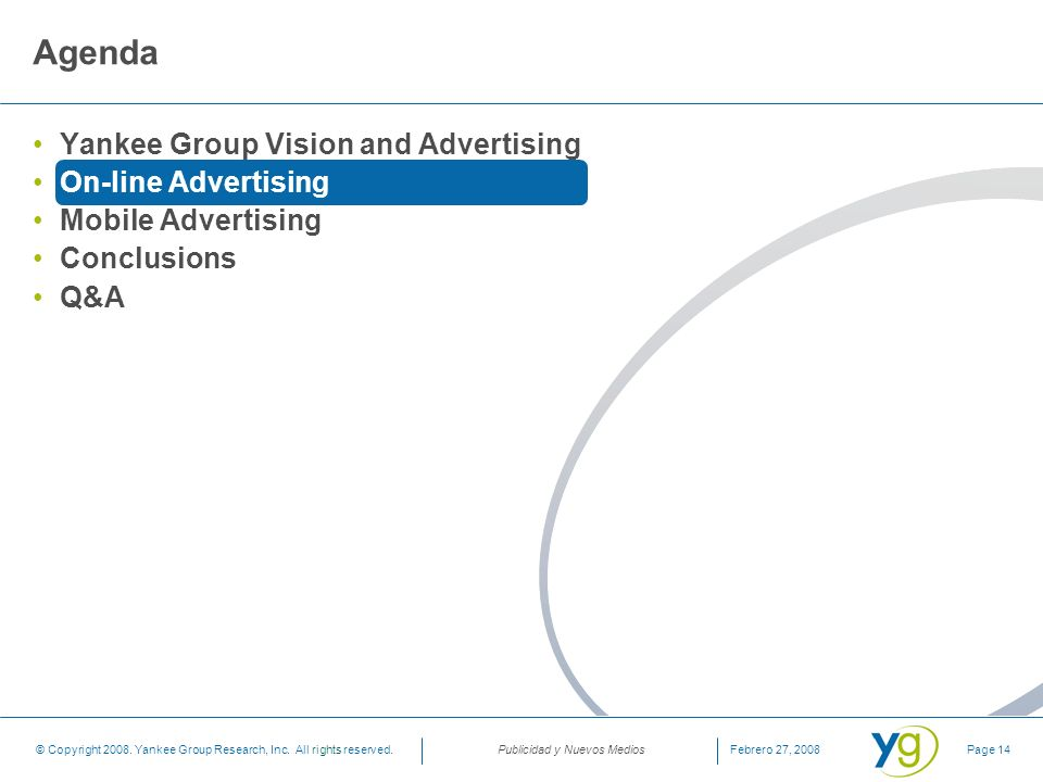 Agenda Yankee Group Vision and Advertising On-line Advertising