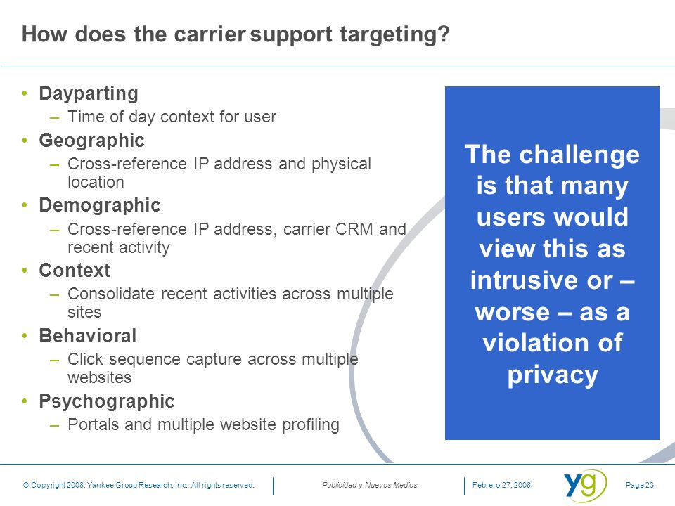 How does the carrier support targeting