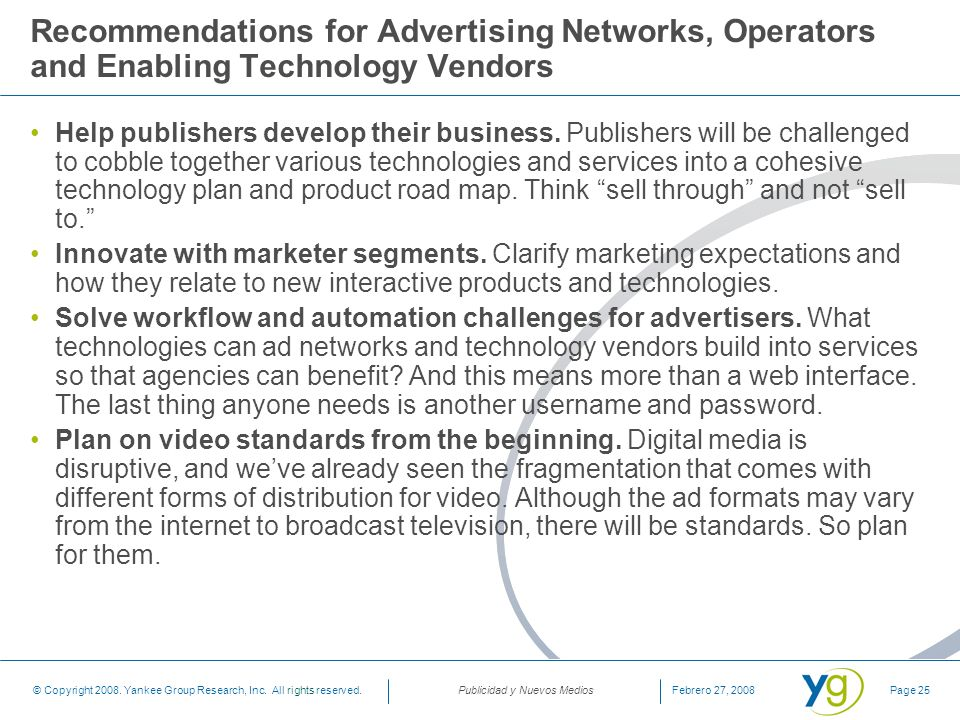 Recommendations for Advertising Networks, Operators and Enabling Technology Vendors