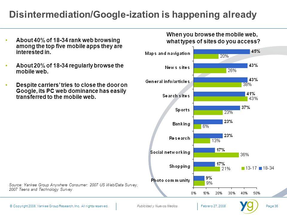 Disintermediation/Google-ization is happening already